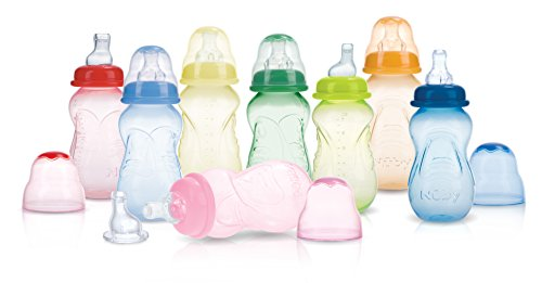 Nuby 3-Pack Non-Drip Tinted Bottles, 7 Ounce, Plus 1 No-Spill Spout, Colors May Vary - No Drip Bottle