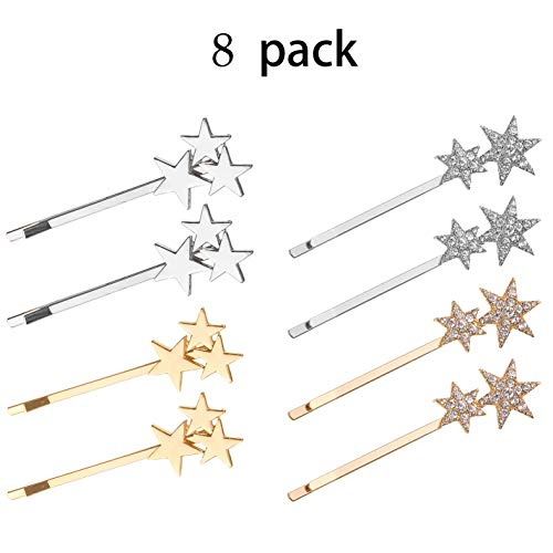 (Bobby Pin Hair Pins Set Crystal Star Bridal Hair Side Clip Accessories Decorations for Women Wedding Gift Box-8 Pack)