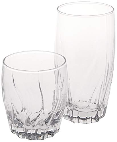Anchor Hocking Green - Anchor Hocking Central Park Small and Large Drinking Glasses, 16-Piece Glassware Set