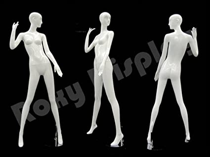 ROXYDISPLAY/™ Abstract Female Mannequin Glossy White Fiberglass MD-XD20W sitting pose.
