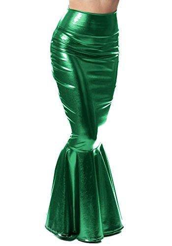 Sidecca Faux Leather Wet Look Metallic Mermaid Costume Maxi Skirt-Kelly-Small