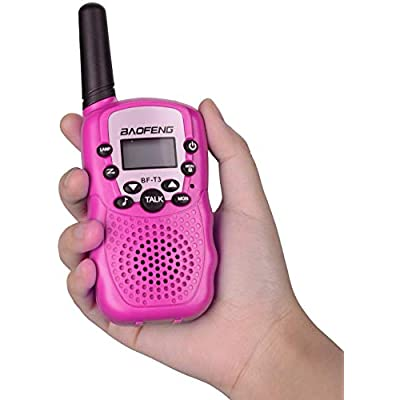 BYBOO Baofeng T3 Kids Walkie Talkies Mini Two Way Radios for Boys Girls Children UHF 462-467MHz Frquency 22 Channels - 1 Pair Pink: Toys & Games