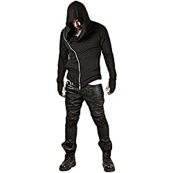 ZUEVI Men's Cool Side Zipper Assassin's Robe Hoodies (Black-XL)