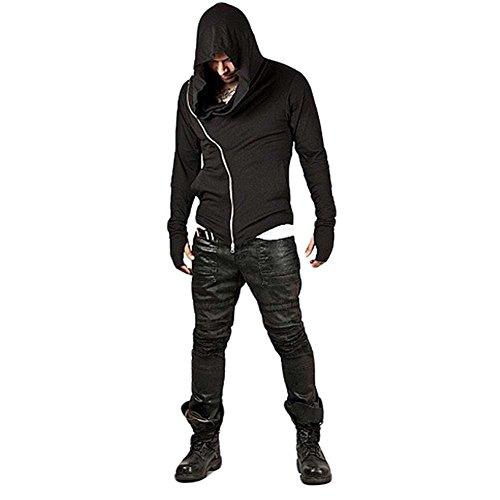 ZUEVI Men's Cool Side Zipper Assassin's Robe Hoodies (Black-XL) -