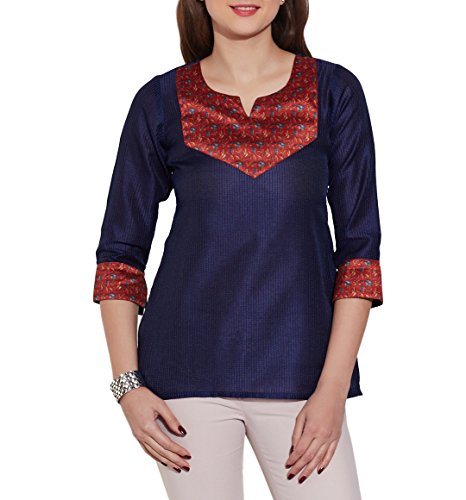 Fashion-Accessory-For-Women-Faux-Silk-Polyester-Kurti-Top-Blue