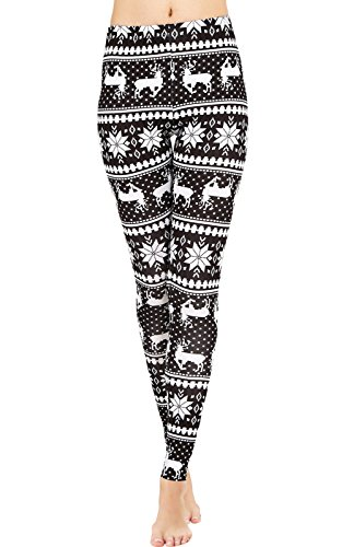 (Uaderize Black and White Christmas Reindeer Leggings for Teen Girls Plus Size)