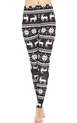DawnRaid Black and White Christmas Reindeer Leggings for Teen Girls Plus Size XL
