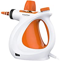 Finether Handheld Vapor Steam Cleaner All-in-One Sanitizer with Extension Hose Window Squeegee for Bathroom Kitchen Carpet Window Grout, Chemical-Free Multi-Purpose, Single Boiler, White/Orange
