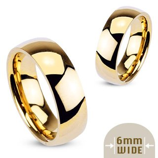 6MM Stainless Steel Yellow Gold Plated High Polished Comfort Fit Traditional Dome Wedding Ring -Crazy2Shop