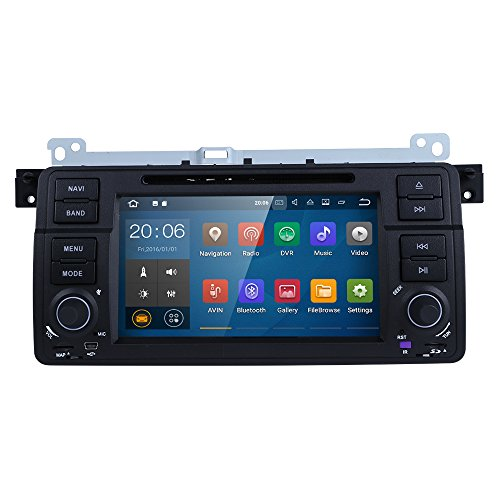 HIZPO Android 7.1 OS Quad Core 1024600 HD Touchscreen Car Radio DVD Player with GPS Navigation fit for BMW 3 Series E46 M3 318 320 325 330 335 by HIZPO