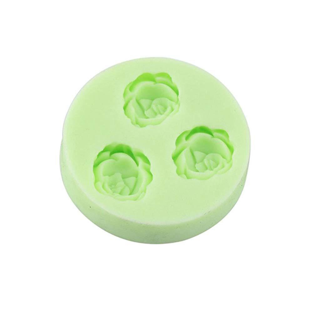 Ndier la cavidad del Molde de Silicona Torta de Formas 3 Formas de Flores para bandejas de Cubitos de Torta de la hornada del jabón moldes de Chocolate Fudge Hielo (Color al Azar) 1PC