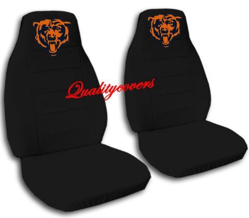 2 Black Chicago seat covers for a 2007 to 2012 Chevrolet Silverado. Side airbag friendly. by Designcovers