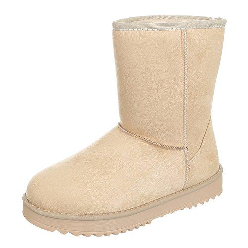 Ital-Design Damen Schuhe, IR-500, Boots Warm Gefütterte Stiefelettten Beige