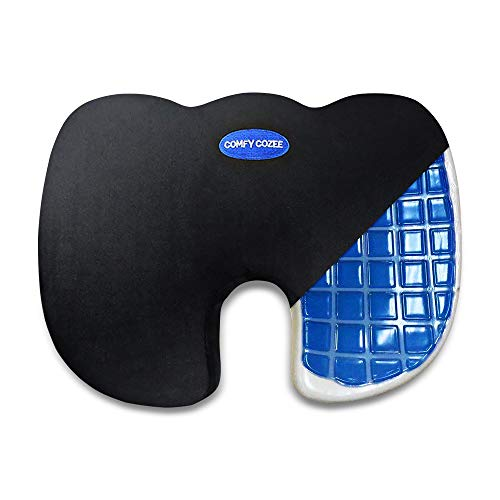 Comfy Cozee Cooling Gel Infused Memory Foam Seat Cushion   Chair Pad Delivers Unmatched Soothing Comfort   Back, Sciatica, Coccyx Pain Relief & Lumbar Support   Sitting Pillow Fixes Poor Posture