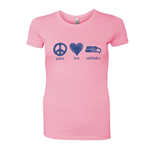 Womens Sketch Peace Love Seattle Seahawks Cute Soft HQ Fashion Tee - Light (Pink Seahawks)
