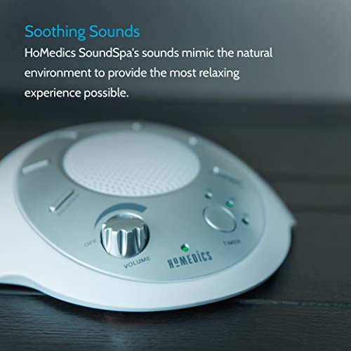 White Noise Sound Machine | Portable Sleep Therapy for Home, Office, Baby & Travel | 6 Relaxing & Soothing Nature Sounds, Battery or Adapter Charging Options, Auto-Off Timer | HoMedics Sound Spa