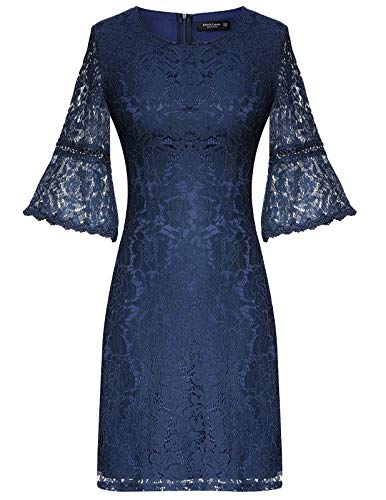 Ladies Simple Fashion Tunic Dress with Sleeves Navy Blue Medium