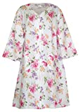Miss Elaine Summer Floral Zip Front Robe (Cream with Pink, Lilac Yellow Floral, Large)