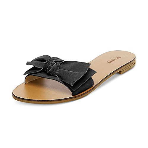 XYD Summer Slide Sandals Slip On Comfortable Slippers Solid Women Loafer Shoes With Bowknot Black w4CWjb5