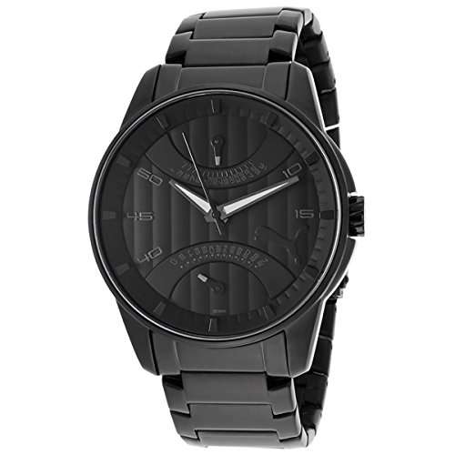 Puma Mens Race XL Retrograde Black IP Stainless Steel Bracelet GMT Watch PU102391005