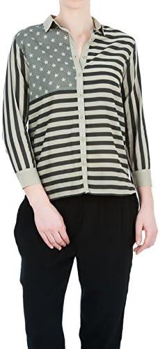Swildens - Camisa rayas caqui y negro, estilo safari girl ...