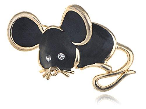 Golden Framed Tone Shiny Black Enamel Crystal Black Rhinestone Mouse Pin Brooch