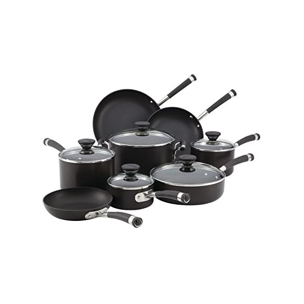 Circulon Acclaim Hard Anodized Nonstick Cookware Pots and Pans Set, 13 Piece, Black 1