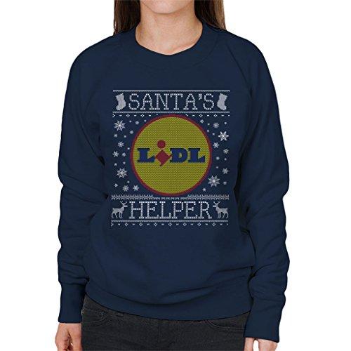 Santas Lidl Bleu Coto7 Marine Helper Sweat En Tricot shirt Jumper Femmes Pour Christmas fxtwfYq0