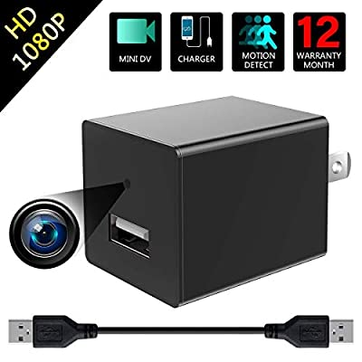 Mini Camera 1080P HD Security Cameras USB Charger Camera Recoder Has Motion Detection and Loop Recording for Use in Security Surveillance of Your Home and Office