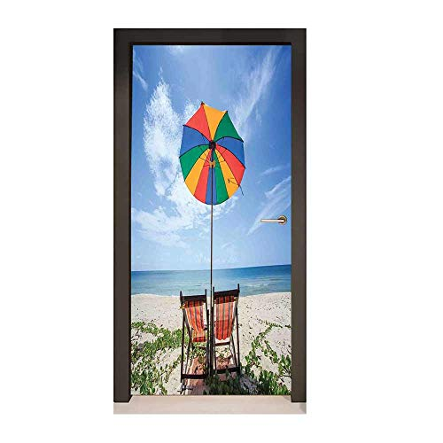 Seaside Door Wallpaper Pair of Chairs and Colorful Umbrella on The Beach Seaside Holiday Travel Image for Living Room Decoration -