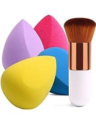 BEAKEY 4+1Pcs Makeup Sponges with Foundation Brush, Flawless Foundation Blending Sponge for Liquid Cream and Powder, Professional Beauty Sponge Blender & Kabuki Brush