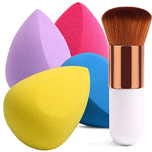 BEAKEY 4+1Pcs Makeup Sponges with Foundation Brush, Flawless Foundation Blending Sponge for Liquid Cream and Powder, Professional Beauty Sponge Blender & Kabuki Brush