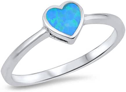 CHOOSE YOUR COLOR Sterling Silver Lab Created Opal Solitaire Heart Ring (Size 4 - 10)