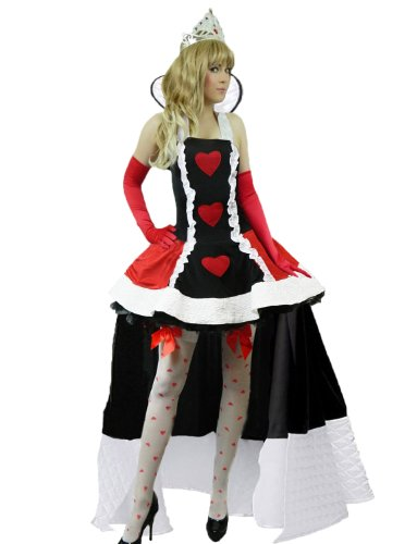 Yummy Bee Womens Queen of Hearts Fairytale Costume + Stockings Crown Size 4 - 6 ()