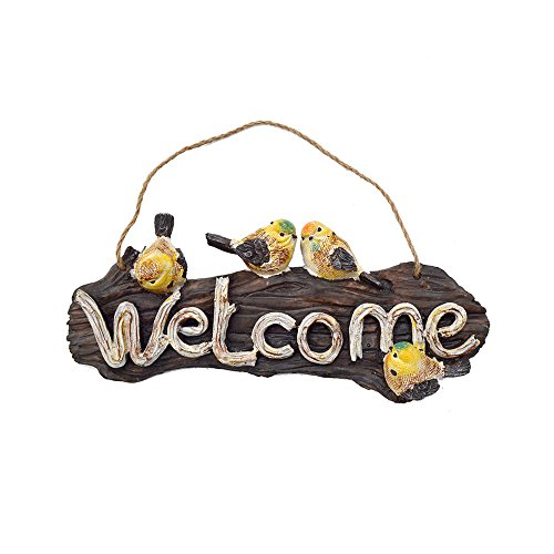 Colias Wing Outdoor Garden Decor Yellow Birds Hand Painted Home Decor Sign Rustic Front Door Decorations Hanging Welcome Sign-Brown