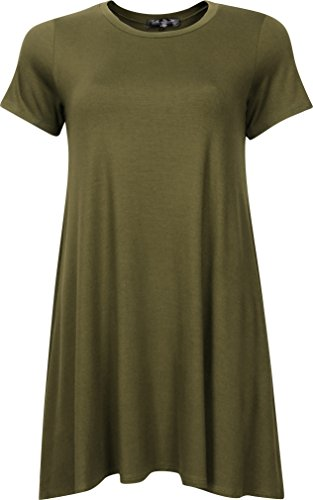 Faith in Flower Made in USA Tunic Casual Loose Flowy Short Sleeve Tunic T-Shirt Dress For Women (Medium, Olive)