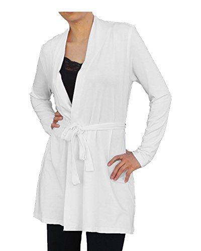 White Lightweight Belted Jacket - Ooh la la Womens Belted Knit Lightweight Long Sleeve Cardigan Sweater Jacket 421210XXL