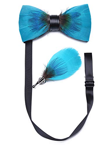 (RBOCOTT Feather Bowtie Turquoise Bow Tie and Brooch Sets for Men(5))