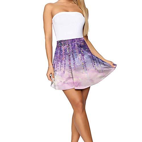 Trendy Flower Ivy Blossoms Woodland Design Short Skirts for Women