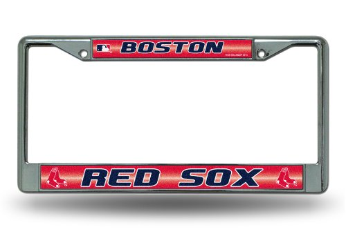 MLB Boston Red Sox Bling License Plate Frame, Chrome, 12 x (Boston Red Sox License Plate Frame)