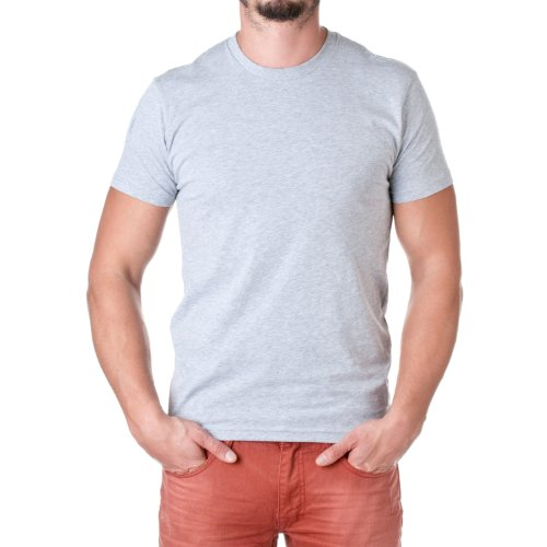Next Level Mens Premium Fitted Short-Sleeve Crew T-Shirt - Large - Heather Grey