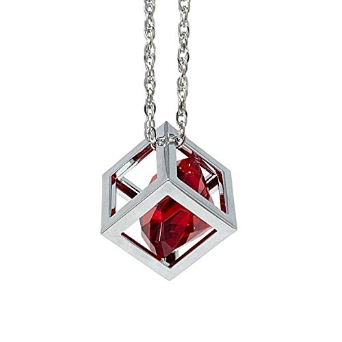 Bling Car Decor Red Diamond Cube Rear View Mirror Charms, Floating Crystal Car Mirror Charms, Sun Catcher Hanging Ornament w/Chain, Bling Car Accessories, Car Charm & Home Decor Ornament (Red)