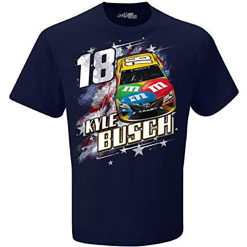 Checkered Flag 2019 NASCAR Men's Patriotic USA 2-Spot Driver/Sponsor T-Shirt-Kyle Busch #18 M&M's-Navy-XL