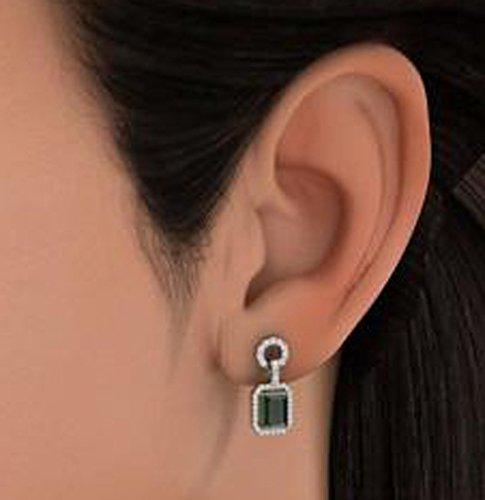 14K Or blanc 0,46CT TW Round-cut-diamond (IJ   SI) et émeraude Boucles d'oreilles pendantes