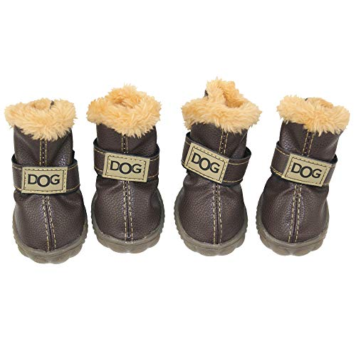 ZEKOO Dog Shoes Australia Boots Pet Antiskid Winter Warm Skidproof Grains Wear-Resisting Sneakers Paw Protectors (3, Brown)