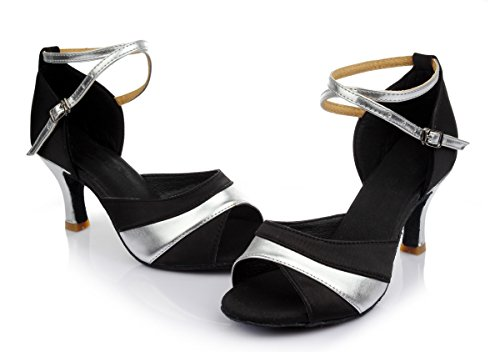 Da Tacchi Latino Ballo E Ballo Scarpe Femminile Argento Shangyi Alti Altezza Fondo Fashion Con Nero 7cm Morbido pXFS0qxcAw