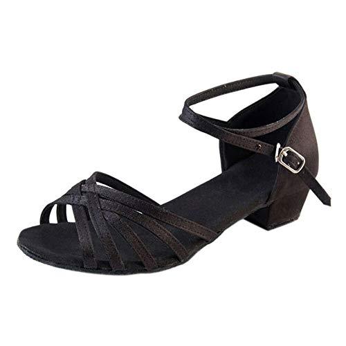Chaussures Noir Salle Femmes À Daim En Dance Fille De Soirée Sandales Shoes Latine Bal Moderne Vachette Meijunter Bas Talons Boucle Fête Danse Semelle EqCBzww
