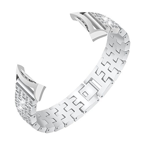 Baoking Compatible with Gear Fit 2 Bands, Accessories Crystal Rhinestone Diamond Stainless Steel Metal Watch Bands Bracelet Strap for Samsung Galaxy Gear Fit 2 PRO SM-R360 6.7''-9.0''(Silver)