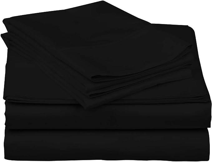 T-300 4 Piece King Size Sheet Set-Color Black