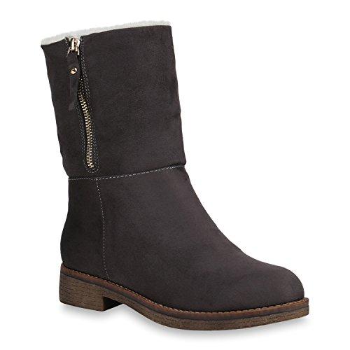 Stiefelparadies Damen Schuhe Stiefeletten Warm Gefütterte Winterboots Profilsohle Stiefel Flandell Grau Nieten